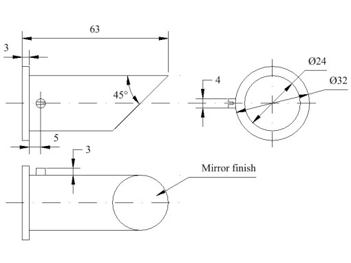 Figure 28 : Night lighting  mirror dimensions.